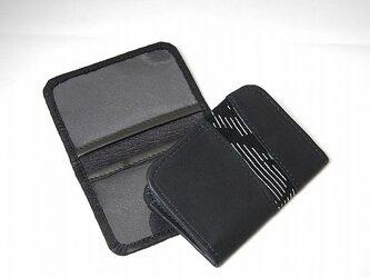 本革パスケース(ブラック柄物パッチ)【一点物】の画像