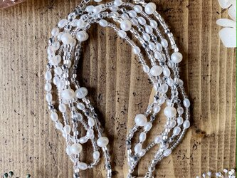 【6月の誕生石】3連淡水パール&パイライトネックレス(Silver925)の画像