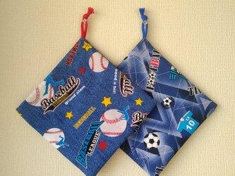 片紐コップ袋1枚 野球orサッカーの画像