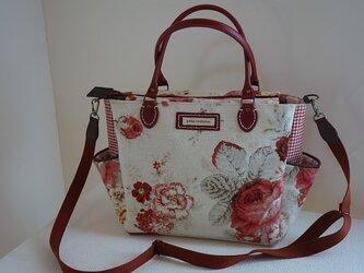 ロ様ご依頼品:サイドポケットバッグ(斜めがけ対応、輸入生地アメリカ:ウェバリーNorfolk Rose)の画像