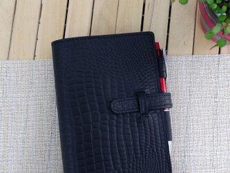 【送料無料】バイブルサイズ 牛革システム手帳 型押しクロコ・ブラックの画像