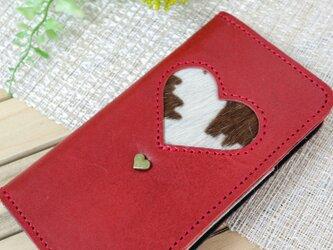 iphone8プラス/ X /11各種  毛付き革ハラコ ハート 手帳型スマホケースの画像