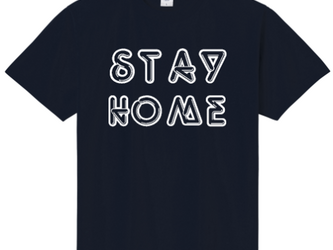 「STAY HOME」 ーおうちですごそうー オリジナルTシャツ ① <ネイビー×ホワイト> の画像