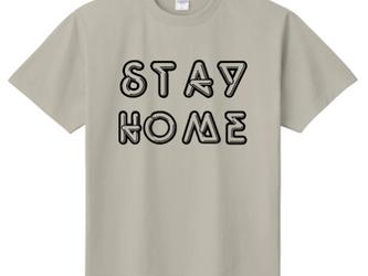 「STAY HOME」 ーおうちですごそうー オリジナルTシャツ ① <ライトグレー×ブラック> の画像