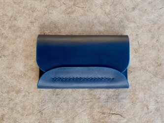 【ブルー】イタリアンレザーの名刺入れの画像