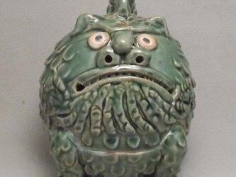 狛犬丸香炉「吽形」織部釉の画像