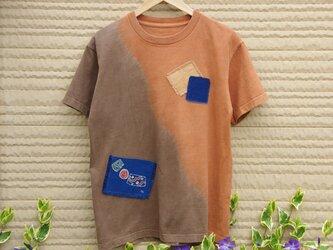 天然土顔料絞り染Tシャツ <筒描藍染ポケット付き>の画像
