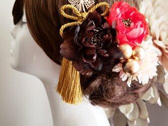 和モダン 小さな芍薬と蝶々の髪飾り6点Set No735の画像