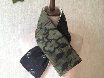 銘仙×コットン刺繍の小さな襟巻き2022C ストール ネックウォーマー プチマフラー リバーシブル 着物リメイクの画像