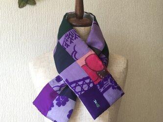 銘仙×コットン刺繍の小さな襟巻き2030C ストール ネックウォーマー プチマフラー リバーシブル 着物リメイクの画像