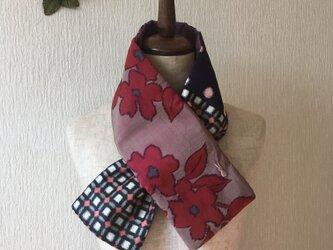 銘仙×ワンウォッシュ麻の小さな襟巻き2014C ストール ネックウォーマー プチマフラー リバーシブル 着物リメイクの画像