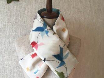 銘仙×ワンウォッシュ麻の小さな襟巻き2040C ストール ネックウォーマー プチマフラー リバーシブル 着物リメイクの画像