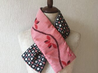 銘仙×ワンウォッシュ麻の小さな襟巻き2010C ストール ネックウォーマー プチマフラー リバーシブル 着物リメイクの画像
