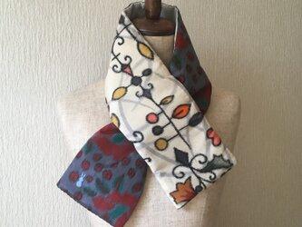 銘仙×コットン刺繍の小さな襟巻き2029C ストール ネックウォーマー プチマフラー リバーシブル 着物リメイクの画像