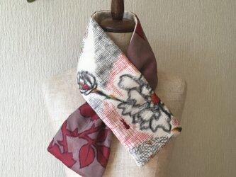 銘仙×コットン刺繍の小さな襟巻き2021C ストール ネックウォーマー プチマフラー リバーシブル 着物リメイクの画像
