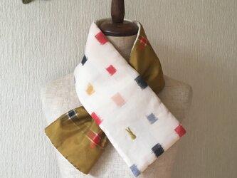 銘仙×コットン刺繍の小さな襟巻き2020C ストール ネックウォーマー プチマフラー リバーシブル 着物リメイクの画像