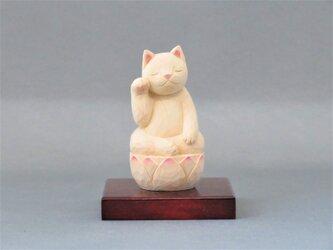 木彫り 右手で招き猫 猫仏2003の画像