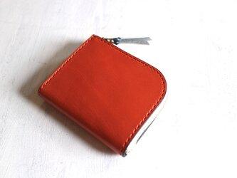 【一点物即納品】L字ファスナー小さい財布 ~栃木アニリンオレンジ×栃木アニリン青~の画像