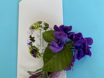 布花 スミレ ブーケのコサージュAの画像