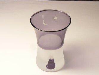 猫と三日月と金星の 一口グラス B 紫(1個)の画像