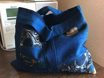 本藍染め手提げバッグ【送料無料】の画像
