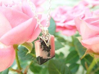 ロードナイト(薔薇輝石)ネックレス~金属アレルギー対応~の画像