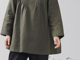 【wafu】中厚 リネン チュニック ボトルネック ピンタック ヨーロピアン シノワズリ / カーキ t006a-khk2の画像