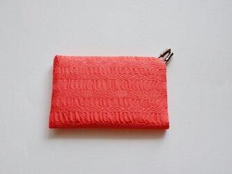 【プレゼントにぴったり】フィルタンゴ 絹のカードケース コーラルピンク 西洋更紗柄の画像