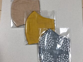 3枚 表裏ガーゼマスク 再販変更あり 大きめサイズ 布マスク 立体マスク からし花柄ベージュの画像