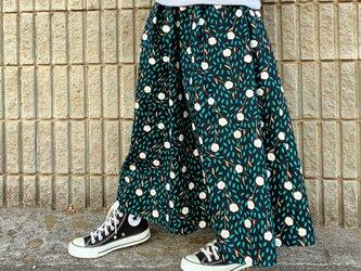 野の花*ロングスカート*マキシ丈*コットンリネン*ブラック×ホワイトの画像