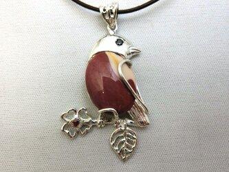 ジャスパーの小鳥ペンダントの画像