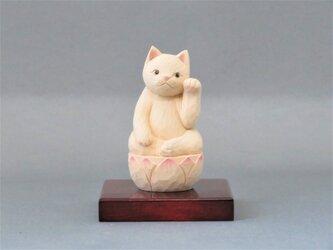木彫り 左手で招き猫 猫仏2004の画像