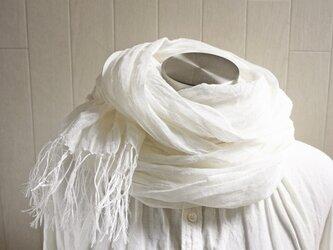 Deco de R オリジナル 上質リネン シングルガーゼのストール オフホワイトの画像