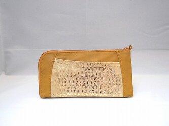 本革ハーフラウンド型 長財布(カラシ×フィルム柄物)【一点物】の画像