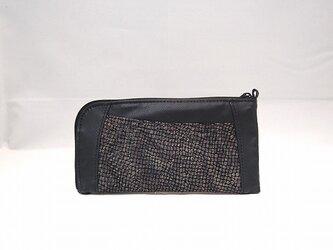 本革ハーフラウンド型 長財布(ブラック×型押し柄物)【一点物】の画像