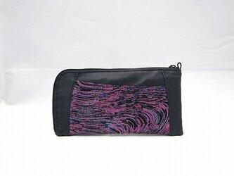 本革ハーフラウンド型 長財布(ブラック×柄物)【一点物】の画像