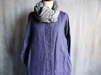 草木染Vネックコートワンピ:紫#2002の画像