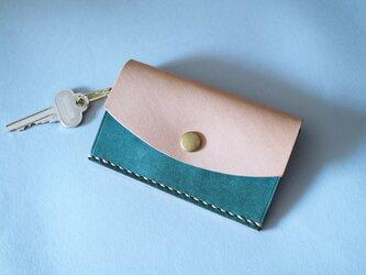 カード&キーケース イタリアンレザー×ヌメ革 ブルーの画像