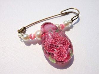 《カーネーション》 ブローチ とんぼ玉 ガラス 母の日プレゼント カーネーションの画像