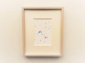 「雨の日の二人」 イラスト原画  ※額縁入りの画像