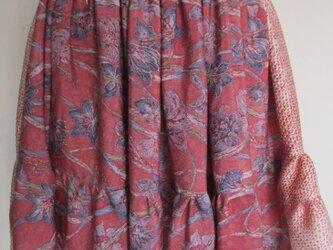 4807 絞りと花柄の着物で作ったミニスカート #送料無料の画像