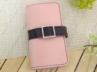 iphone8プラス/ X /11各種 牛革 くすみピンク 手帳型スマホケース ラインストーンバックル スクエアの画像