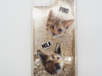 オーダーメイド うちの子 グリッターケース iphone Galaxy スマホケース ペット 猫 犬 写真 ペットの画像