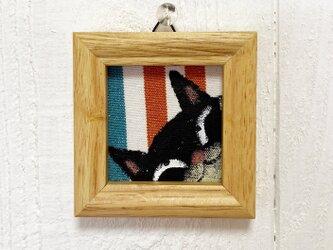 猫の小さなアクリル画【黒猫】の画像