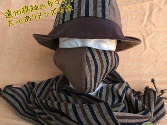 遠州綿紬の布マスク うつぶし×木立の画像