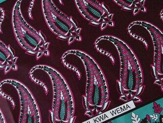 アフリカ布『カンガ』 バーガンディー × ローズの画像