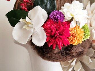 和風レトロ 胡蝶蘭とポンポンマムの髪飾り8点Set No737の画像