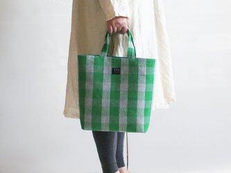 手織りリネンたて型トートバッグの画像