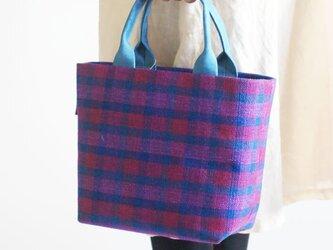 手織りリネンスクエアトートバッグの画像