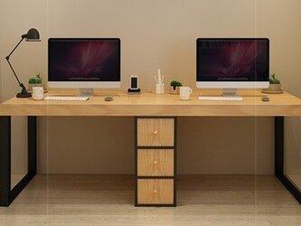 オーダーメイド 職人手作り デスク パソコンデスク テーブル アイアンウッド 天然木 木目 木工 家具 サイズオーダー可の画像